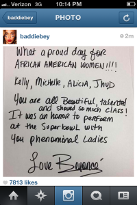 Super Bowl XLVII featured all African-American female performers