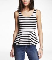 """Stripe Zip Back Peplum Tank"" Express, $29.90"