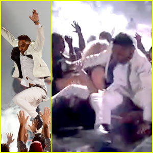 "Miguel crushes fan at the close of his ""Adorn"" performance"