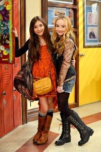 Rowan Blanchard (Riley Matthews) and Sabrina Carpenter  (Maya) on set