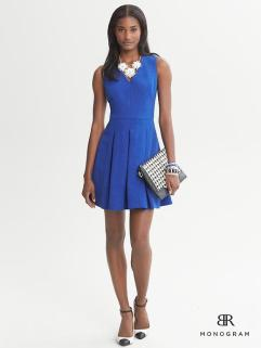Monogram Textured Fit-and-Flare Dress Banana Republic, $150