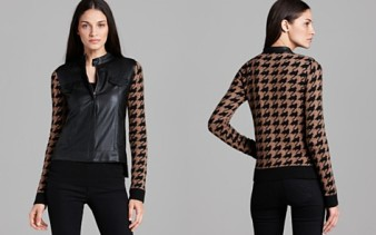 Georgina Houndstooth Faux Leather Jacket Ella Moss, $288