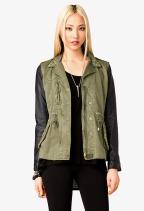 Faux Leather Sleeve Utility Jacket Forever 21, $42.80