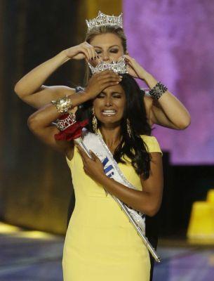 Miss America 2013 Mallory Hogan of Brooklyn crowns fellow New Yorker Nina Davuluri of Syracuse