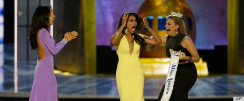 Miss California Crystal Lee (far left) and Miss America 2013 Mallory Hogan (far right) congratulate Nina Davuluri (center) on her win