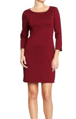 Button-sleeve Ponte Kint Dress in Wine Country Old Navy, $29.94
