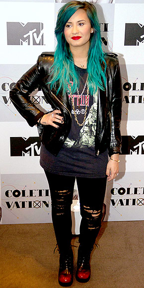 Demi Lovato goes edgy at a press conference in Mexico City